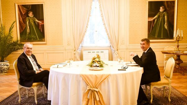 Prezident Miloš Zeman a premiér Andrej Babiš na novoročním obědě v Lánech - Sputnik Česká republika