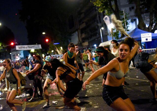Demonstrace za legalizaci potratů v Argentině