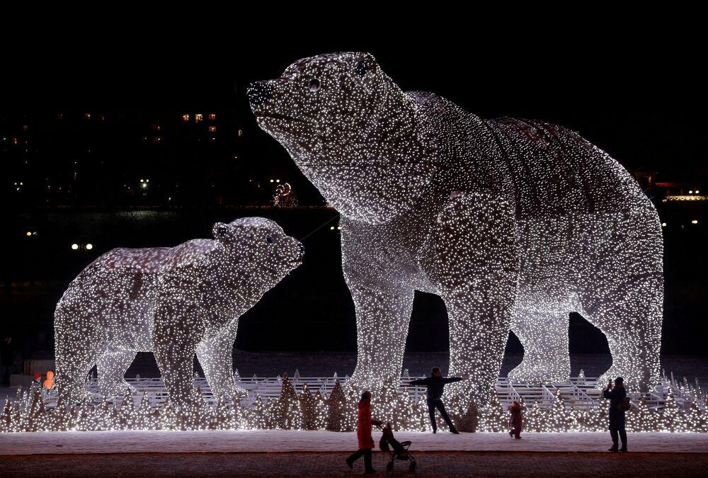 Slavnostní dekorace na Nový rok v Moskvě