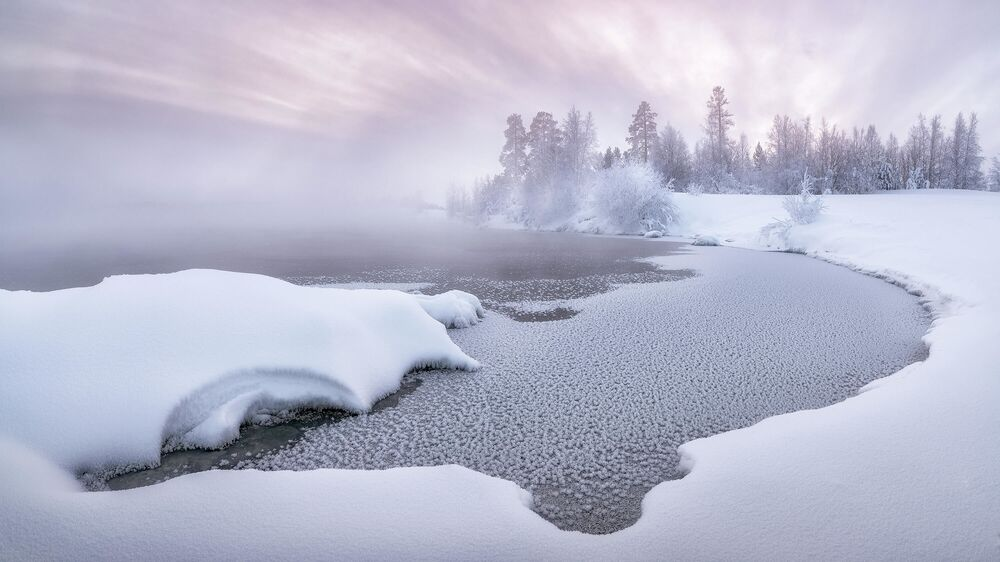 Sergej Altuškin: Mrazivý lednový západ slunce. Rusko, rok 2020