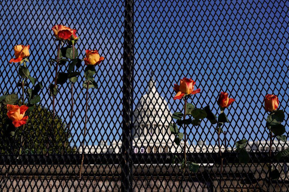Květiny na plotě naproti budově Kapitolu ve Washingtonu