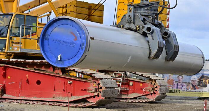 Stavební práce při budování plynovodu Nord Stream 2 v Německu