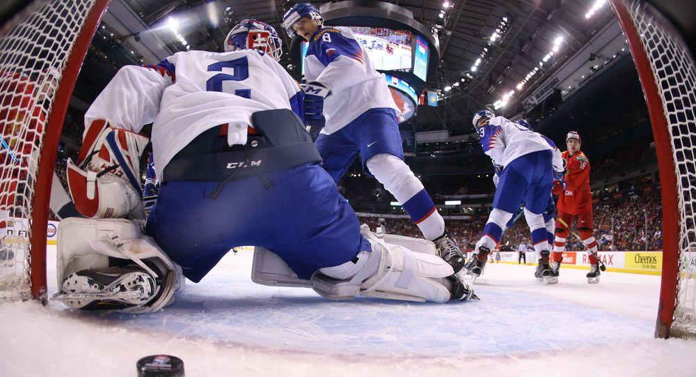 Utkání mezi Slovenskem a Ruskem na juniorském mistrovství světa 2019. Ilustrační foto