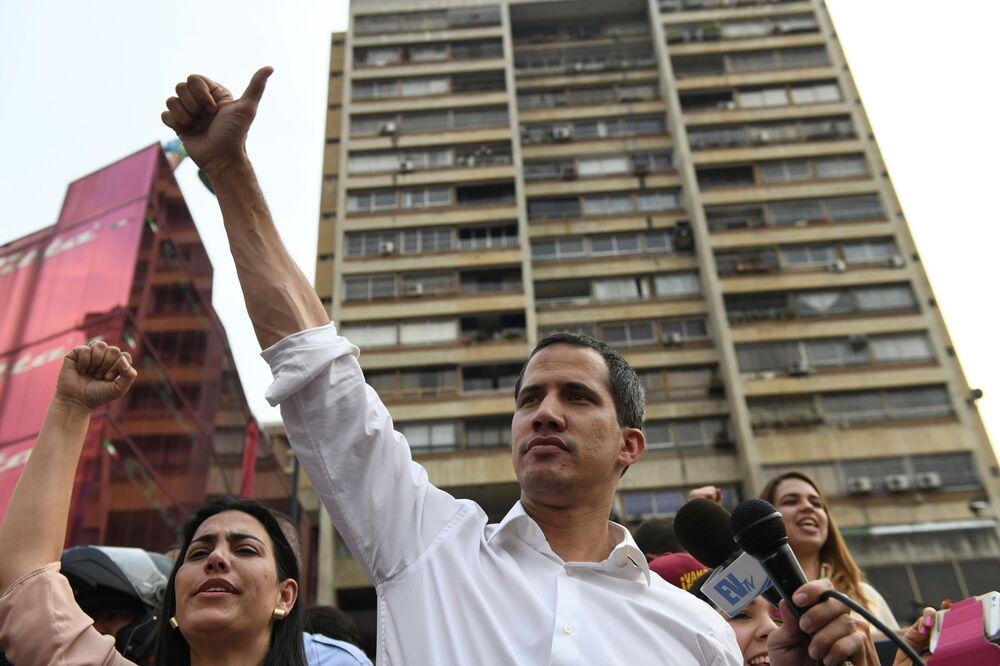 Setkání lídra venezuelské opozice Juana Guaida se svými stoupenci