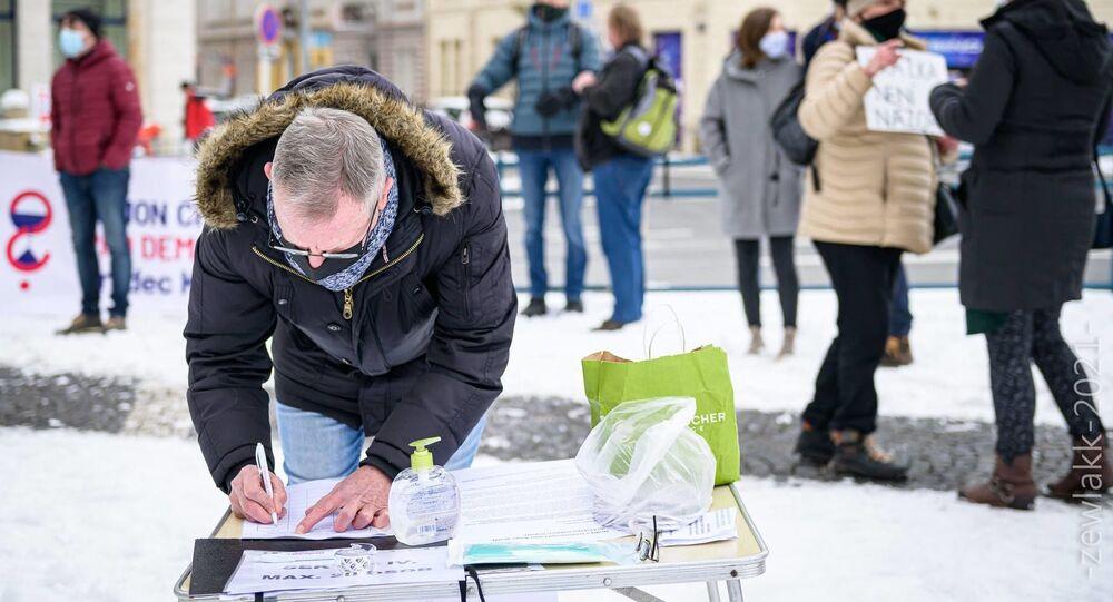 Demonstrace proti Xavera Veselého v Hradci Králové