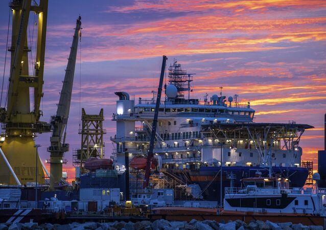 Stavební práce při budování plynovodu Nord Stream 2
