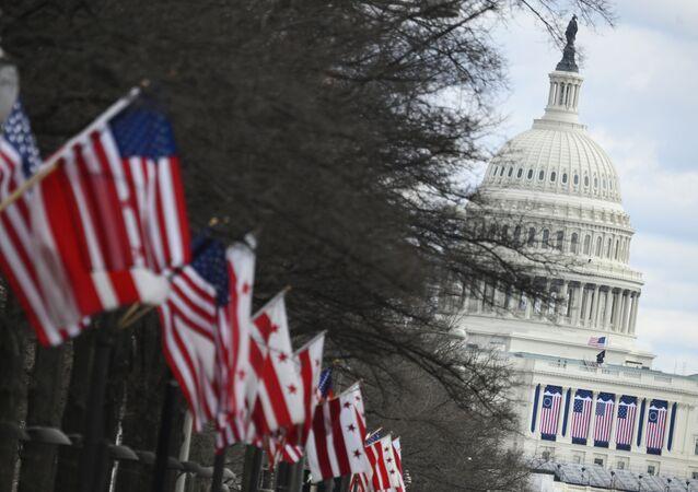 Americké státní vlajky u Kapitolu ve Washingtonu