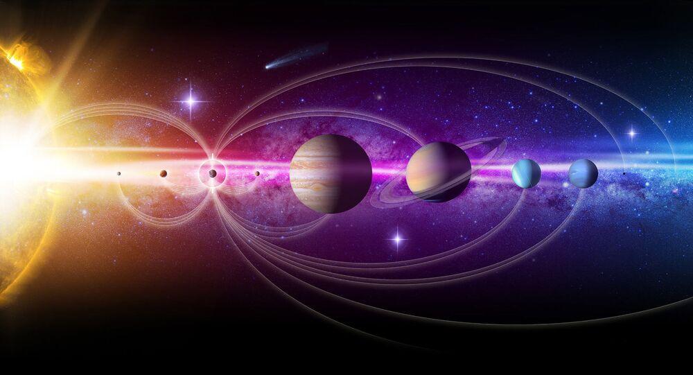 Umělecké znázornění sluneční soustavy