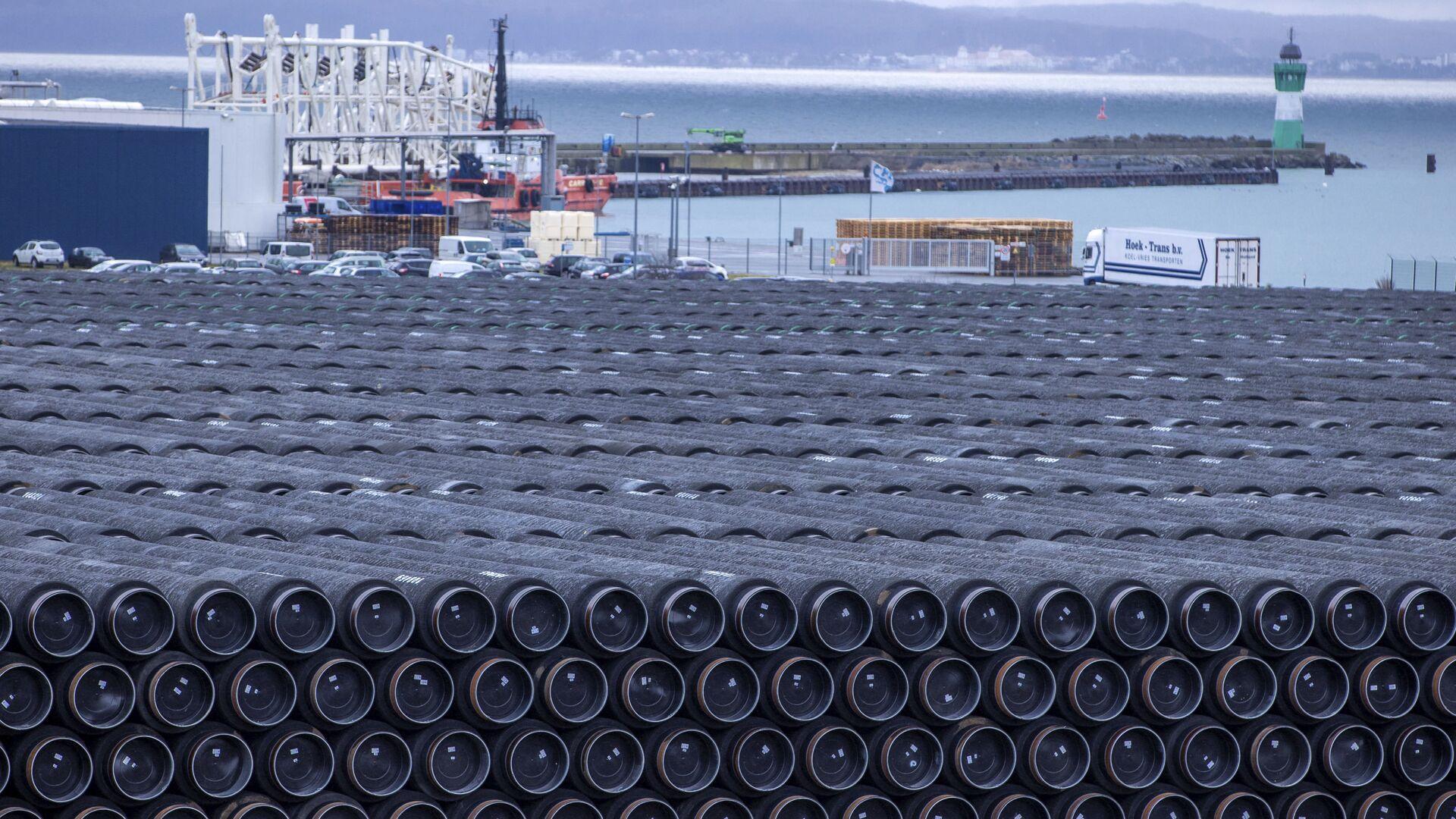 Potrubí na stavbu plynovodu Nord Stream 2 v Německu - Sputnik Česká republika, 1920, 17.03.2021