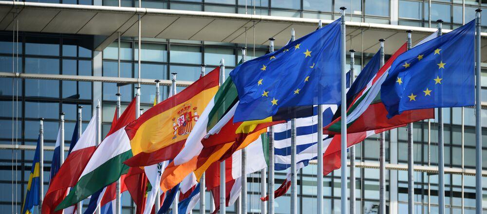 Vlajky u budovy Evropského parlamentu ve Štrasburku