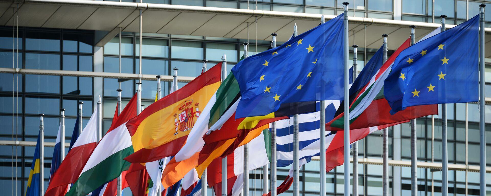 Vlajky u budovy Evropského parlamentu ve Štrasburku - Sputnik Česká republika, 1920, 25.05.2021
