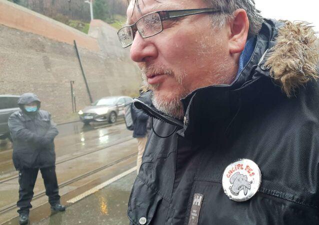 Spolusvolavatel demonstrace před Úřad vlády Jiří Janeček