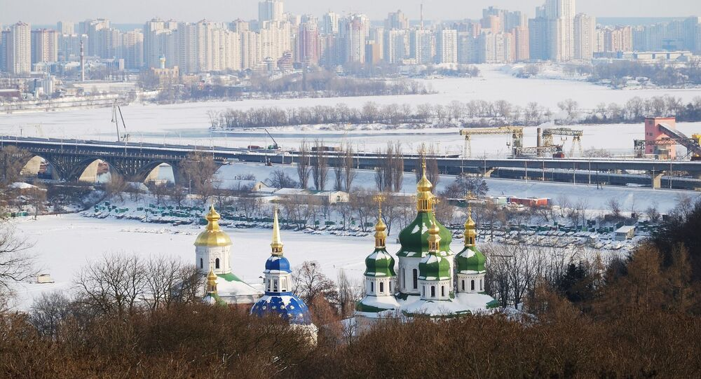 Výhled na zasněžený Kyjev
