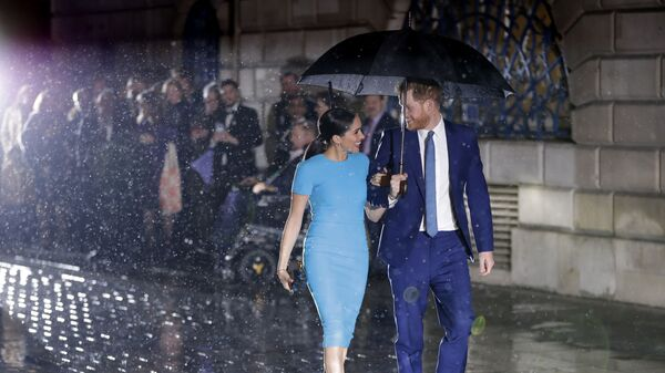 Britain's Prince Harry and Meghan, the Duke and Duchess of Sussex arrive at the annual Endeavour Fund Awards in London, Thursday, March 5, 2020. - Sputnik Česká republika