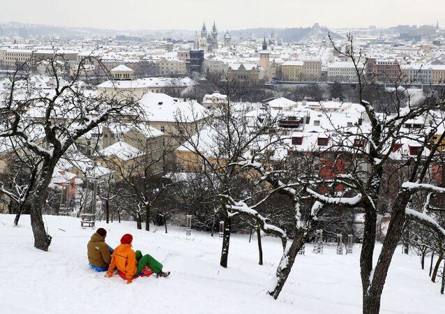 Zimní pohled na Prahu