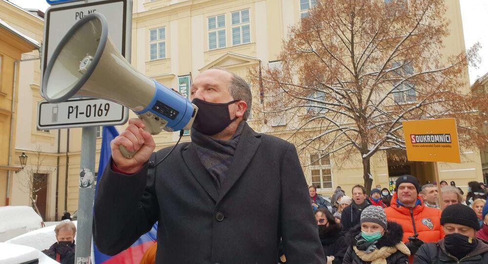 Václav Klaus mladší během protestu