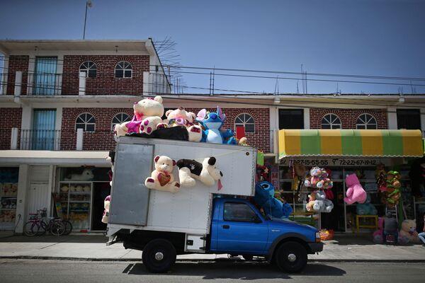 Prodej měkkých hraček z kamionu před Valentýnem na ulici v Mexiku. - Sputnik Česká republika
