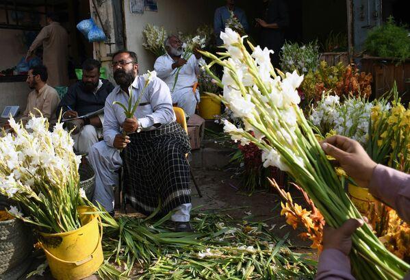 Prodejci na trhu před Valentýnem v Pákistánu. - Sputnik Česká republika