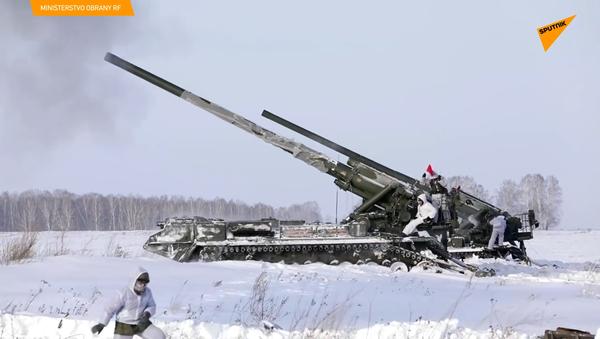 Záběry z taktických dělostřeleckých cvičení v oblasti Kemerovo v Rusku - Sputnik Česká republika