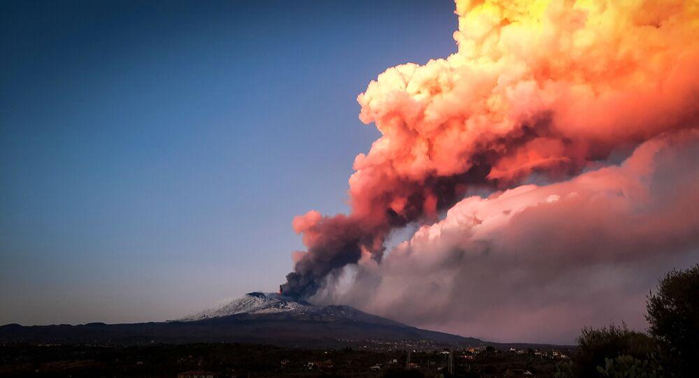 Erupce Etny v Itálii