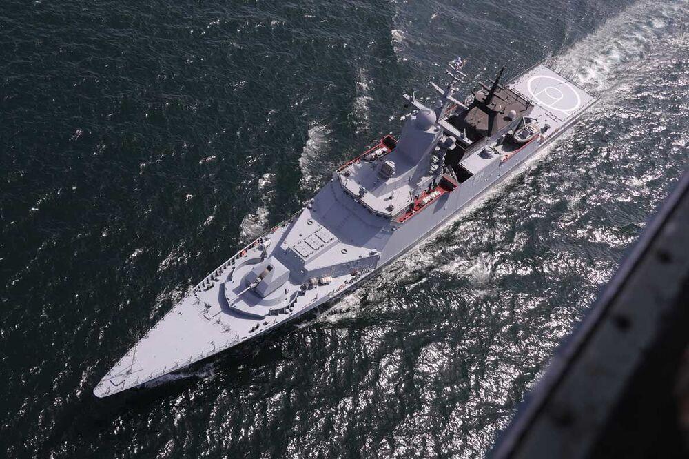 Ruská korveta Stojkij (545) během společného námořního cvičení s Íránem na severu Indického oceánu.