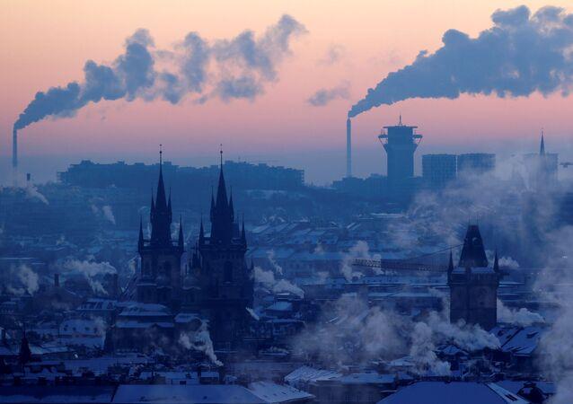 Pohled na zimní Prahu, 2021