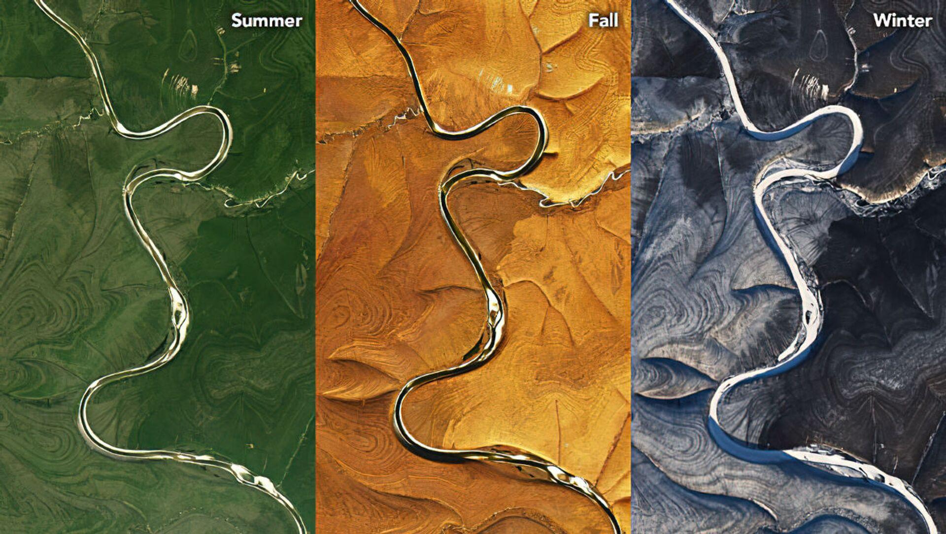 Země na obou stranách řeky Marcha zvlněná střídavými tmavými a světlými pruhy, bez ohledu na roční období - Sputnik Česká republika, 1920, 20.04.2021