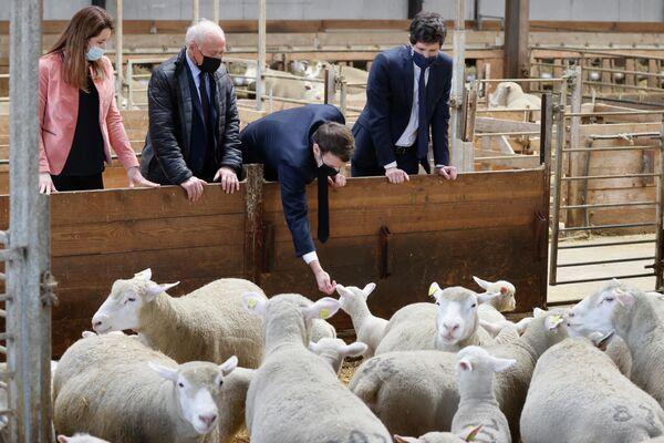 Francouzský prezident Emmanuel Macron během návštěvy farmy La Ferme d'Etaules - Sputnik Česká republika