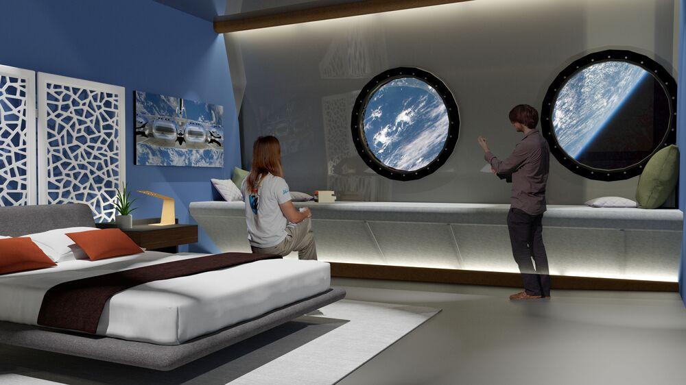 Ložnice ve vesmírném hotelu Voyager Station