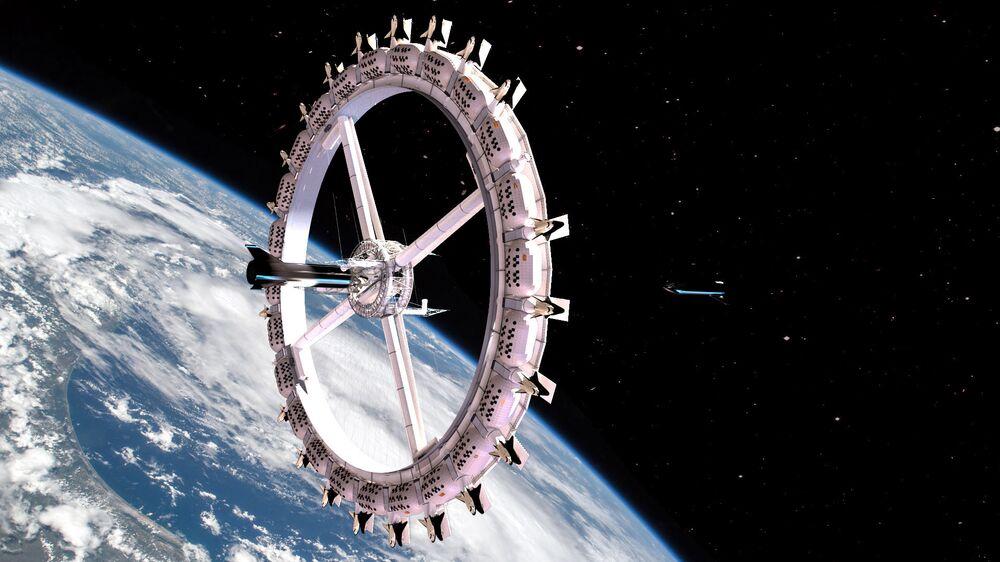 Pohled na hotel Voyager Station ve vesmíru