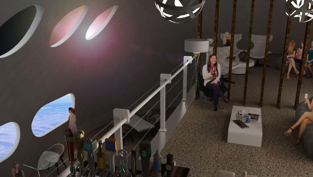 Bar ve vesmírném hotelu Voyager Station