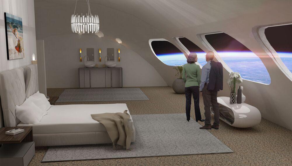 Pokoj ve vesmírném hotelu s výhledem na Zemi