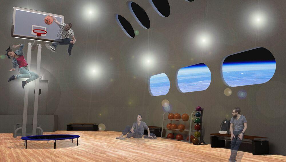 Sportovní hala ve vesmírném hotelu Voyager Station