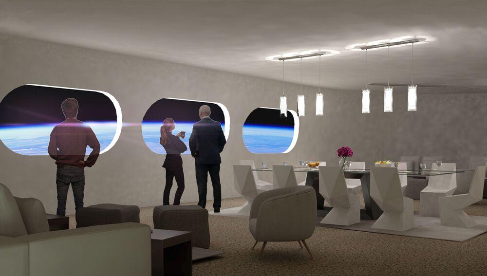 Obývací pokoj v pokoji Luxury Villa ve vesmírném hotelu Voyager Station