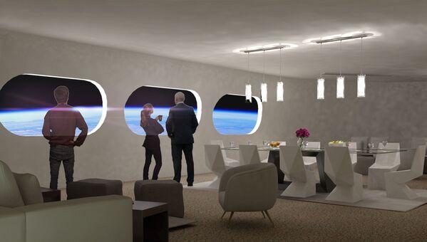 Obývací pokoj v pokoji Luxury Villa ve vesmírném hotelu Voyager Station. - Sputnik Česká republika