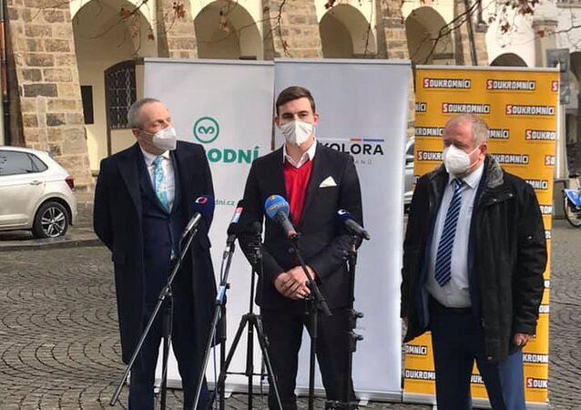 Tisková konference předsedů českých stran Trikolóra, Svobodní и Soukromníci