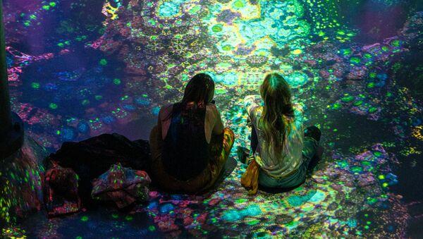 Návštěvníci na výstavě immerzivních audiovizuálních instalací Julia Horsthuise v New Yorku, USA - Sputnik Česká republika