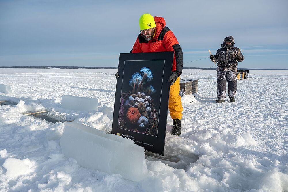 V Bílém moři za polárním kruhem byla zahájena první výstava pod ledem na světě