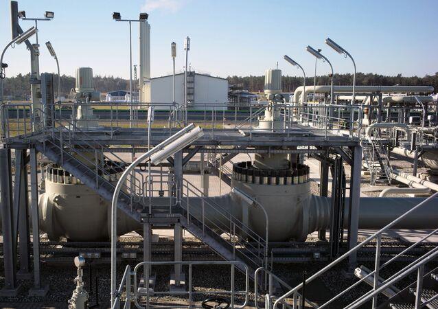 Pobřežní zařízení plynovodu Nord Stream 2 v německém Lubminu