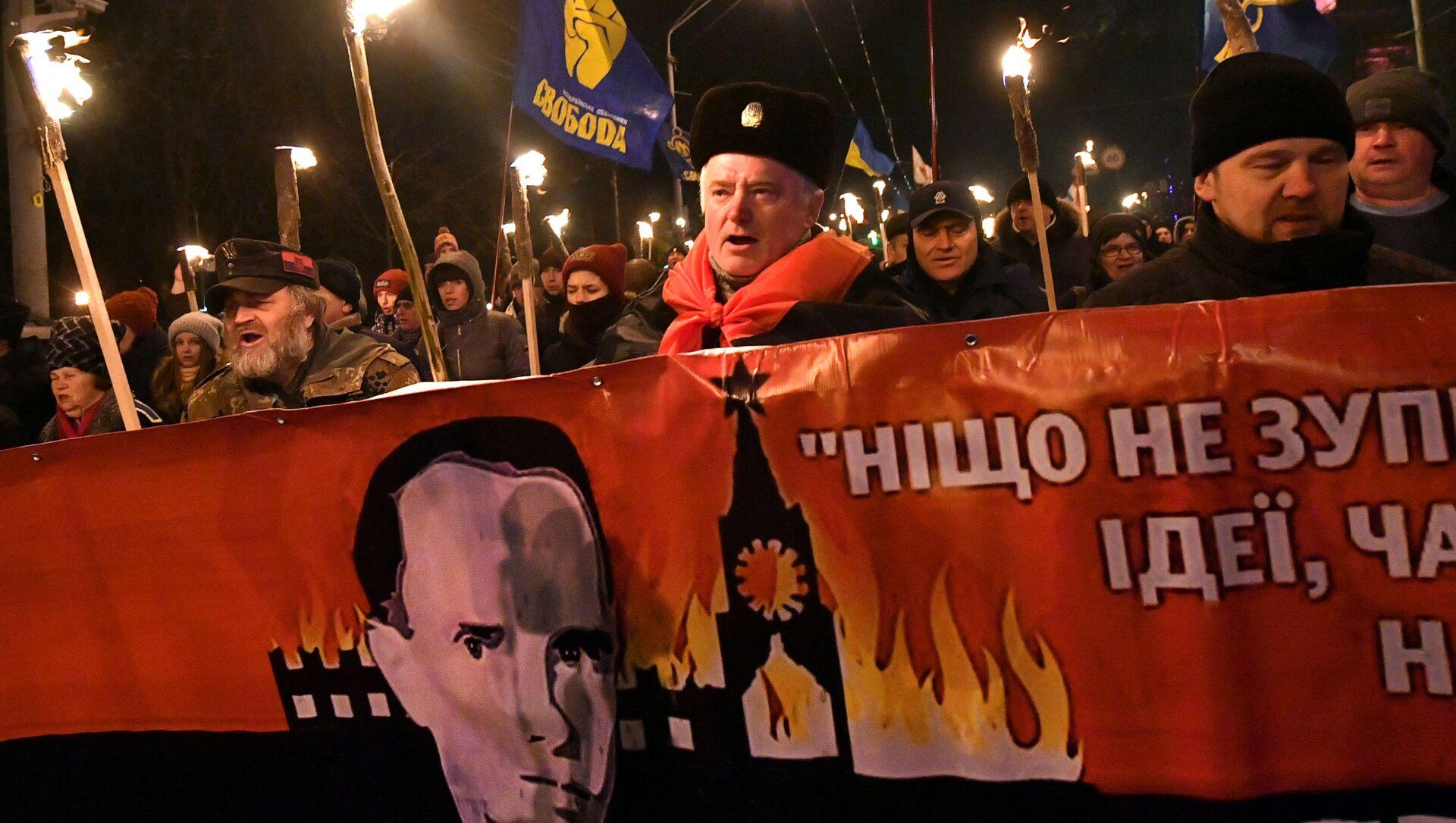 Pochod k 111. výročí narození Štěpána Bandery v Kyjevě - Sputnik Česká republika, 1920, 11.03.2021
