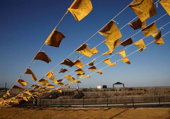 Žluté kapesníky s přáními poškozených v důsledku zemětřesení r. 2011 v Japonsku. - Sputnik Česká republika
