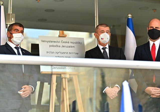 Premiér Andrej Babiš na slavnostní ceremonii otevření pobočky české ambasády v Jeruzalémě