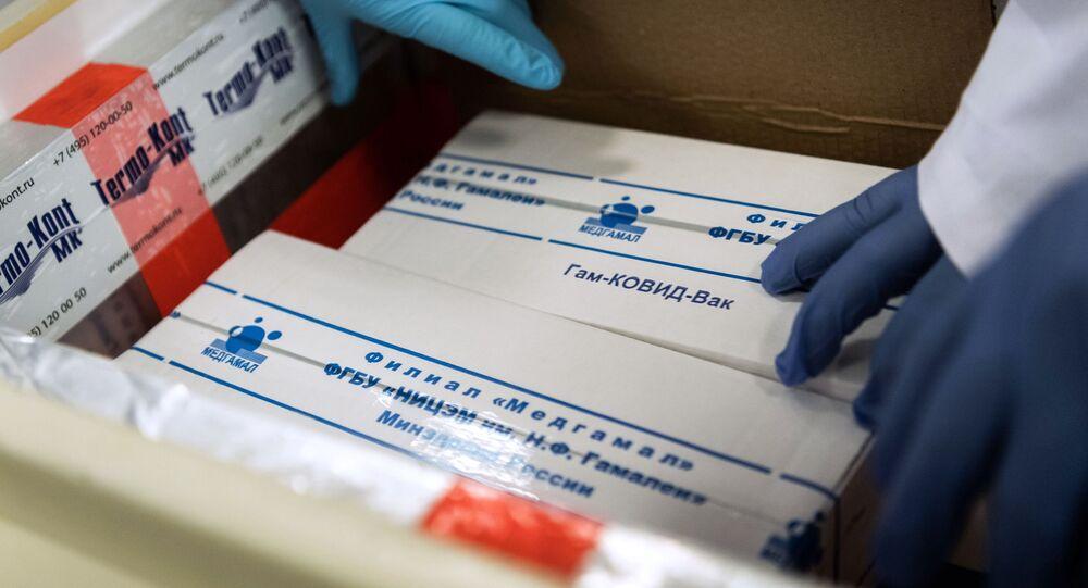 Zásilka ruské vakcíny Sputnik V do Maďarska pro klinické zkoušky 19. listopadu 2020