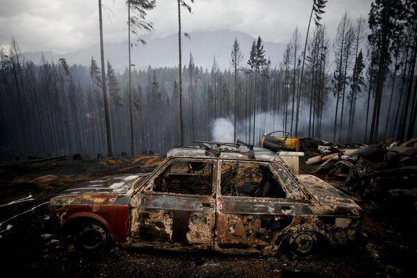 Automobil, který shořel v důsledku přírodních požárů. Las Golondrinas, Argentina. - Sputnik Česká republika