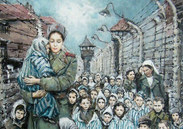 """Obraz Stanislava Sedláčka """"Madona z Osvětimi"""""""