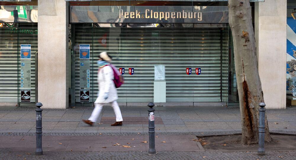 Zavřený obchod v Německu během lockdownu