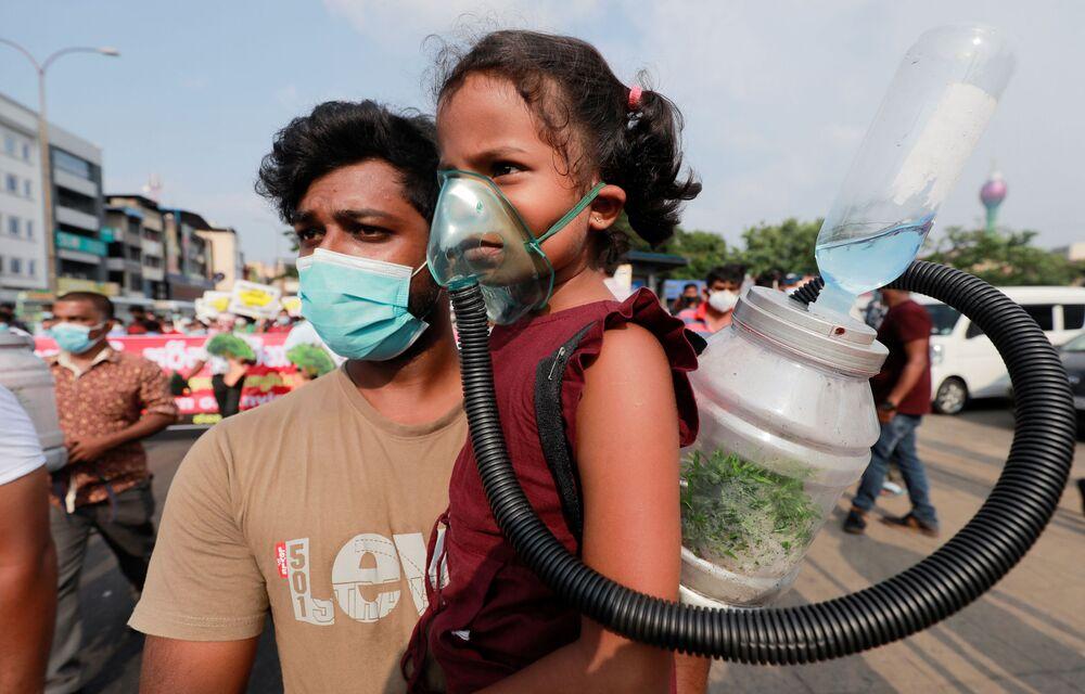 Účastníci protestu proti kácení lesů Srí Lanky v Colombu.