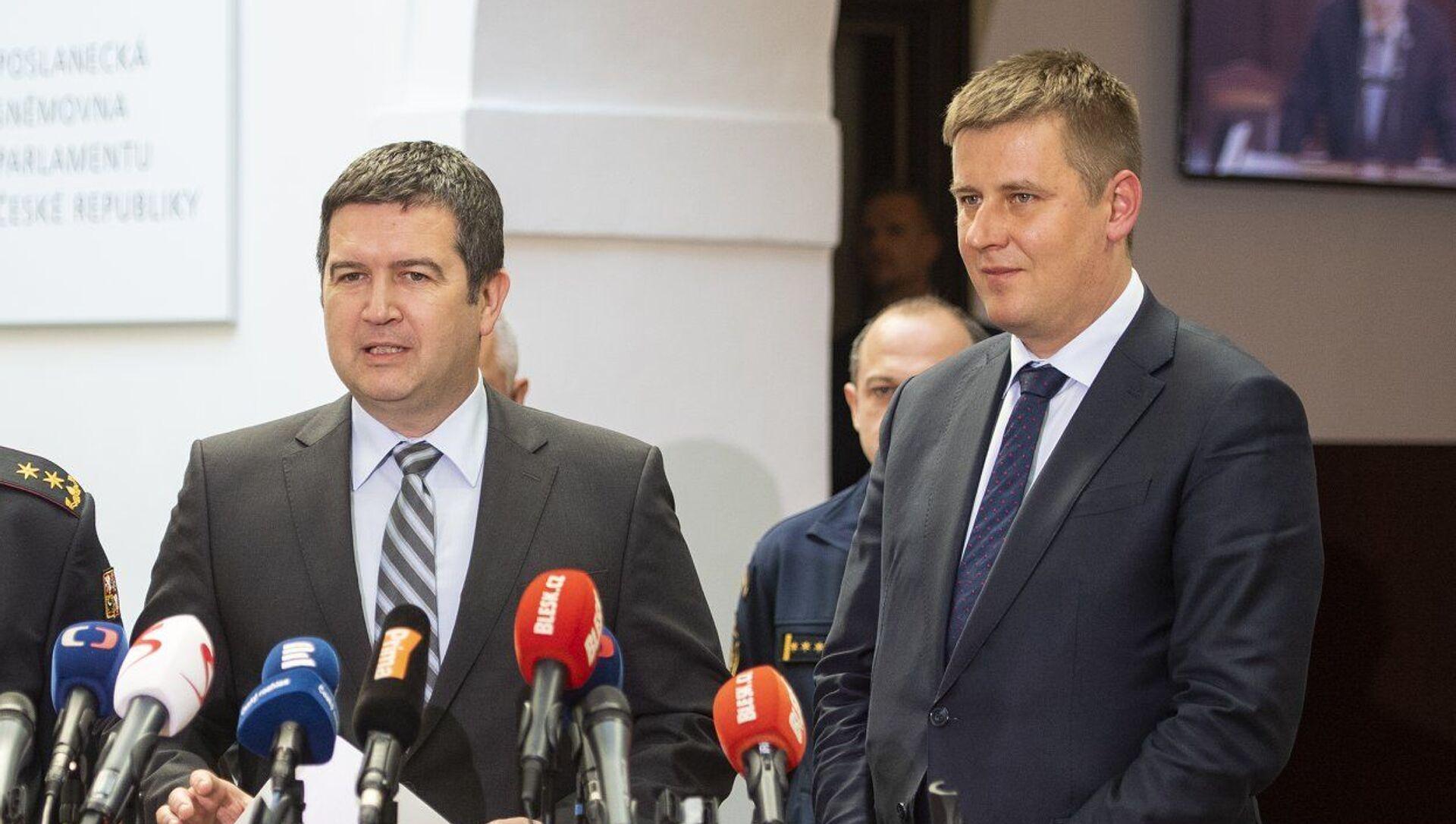 Předseda strany ČSSD a ministr vnítra jan Hamáček a ministr zahraničních věci Tomáš Petříček  - Sputnik Česká republika, 1920, 29.03.2021