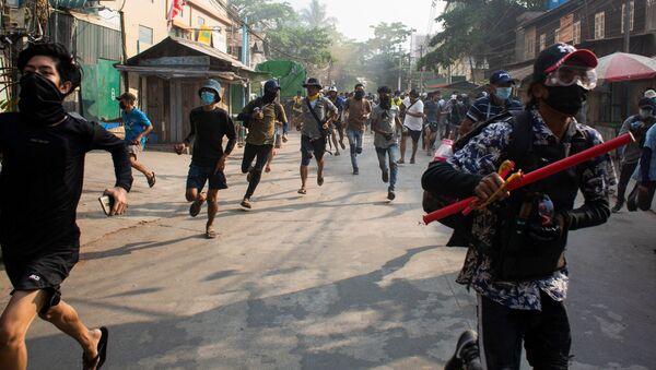 Protesty v Barmě - Sputnik Česká republika