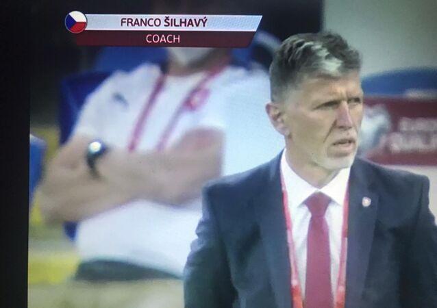 Trenér české fotbalové reprezentace Jaroslav Šilhavý při zápase proti Walesu